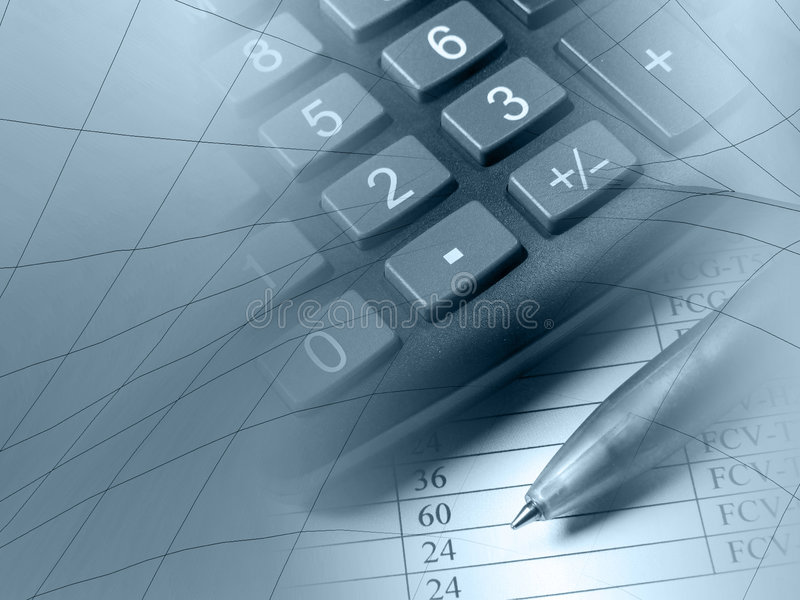 Pen and calculator (in blues) stock images
