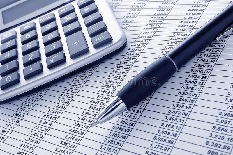 Download Pen And Calculator On Cash Financial Spreadsheet Royalty Free Stock Photography - Image: 19889777