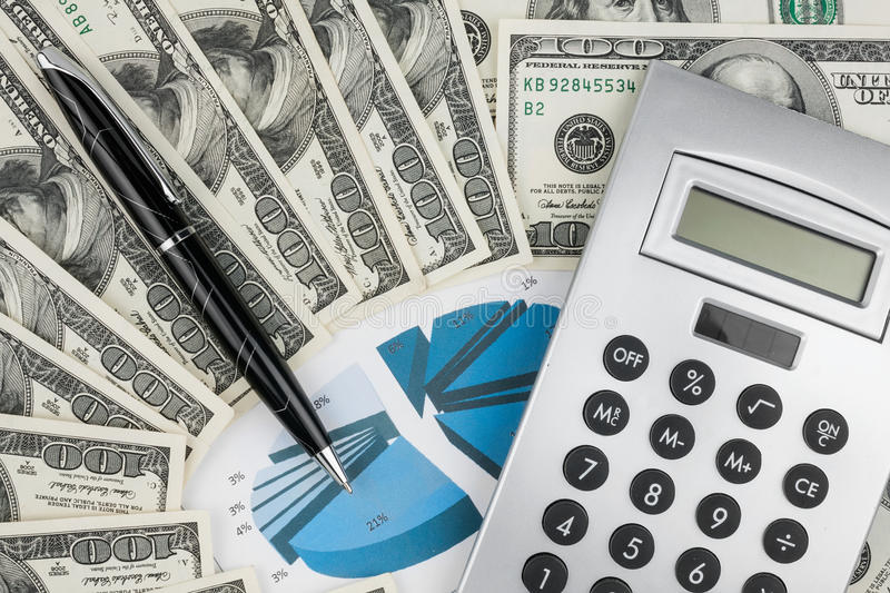 Download Pen,calculator And Dollars On Chart Closeup Stock Image - Image: 28299329