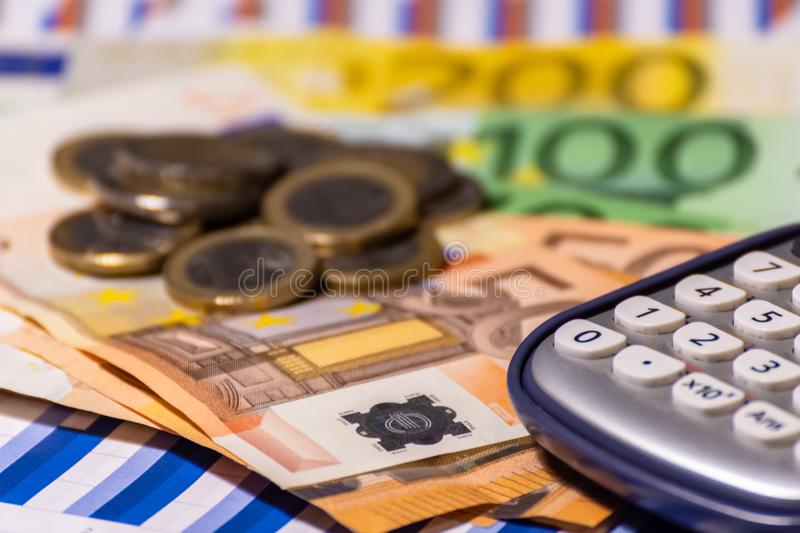 Pen, calculator , money , graph for finance and business concept royalty free stock images
