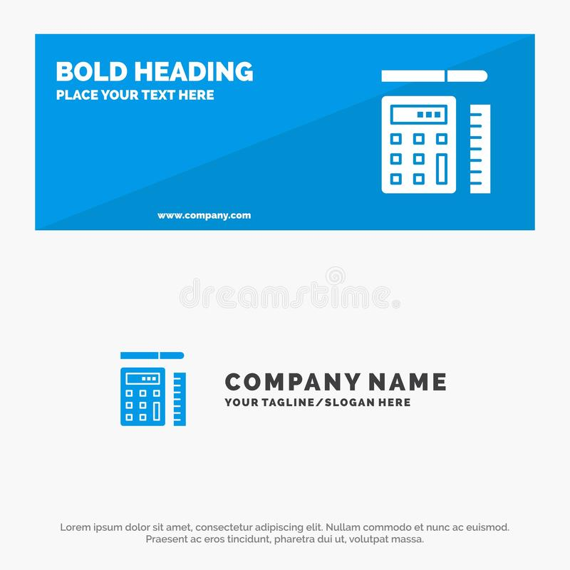 Pen, Calculator, Scale, Education SOlid Icon Website Banner и Business Logo Template иллюстрация штока