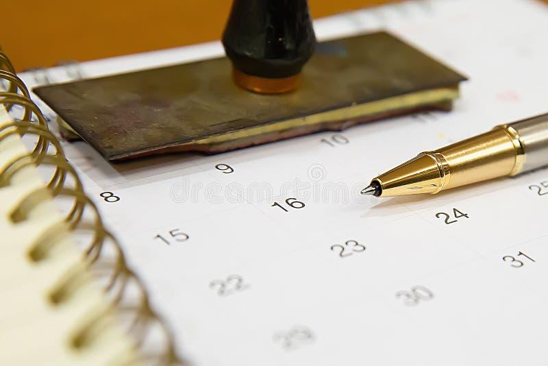 Pen on Calendar for Planner concept. stock images