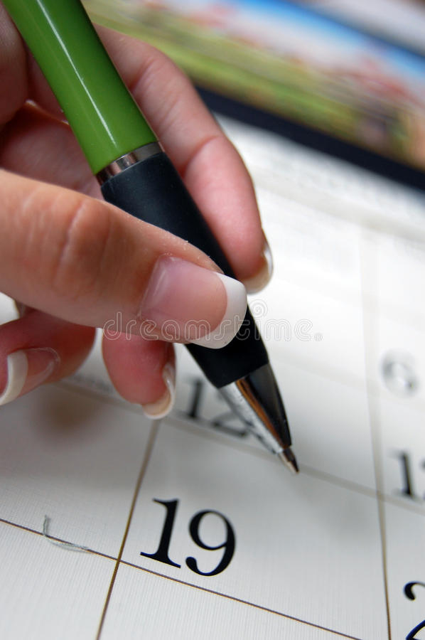 Pen And Calender Royalty Free Stock Photography