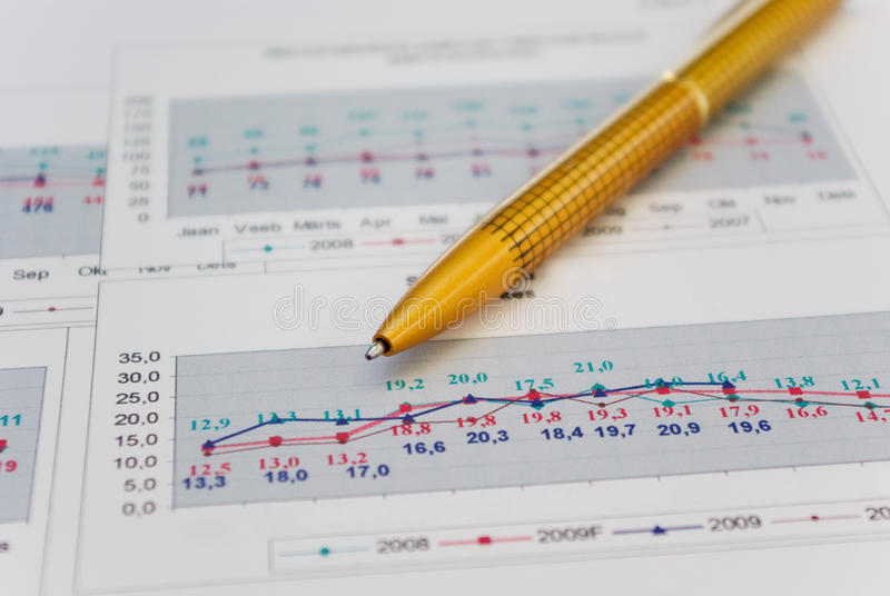 Pen on chart royalty free stock photography