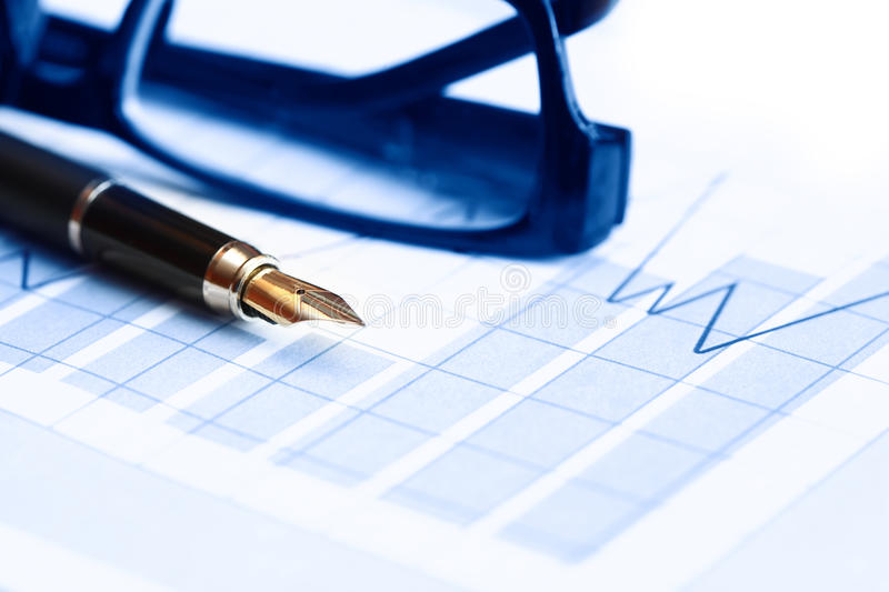 Download Pen On Chart stock photo. Image of investment, fountain - 29394166