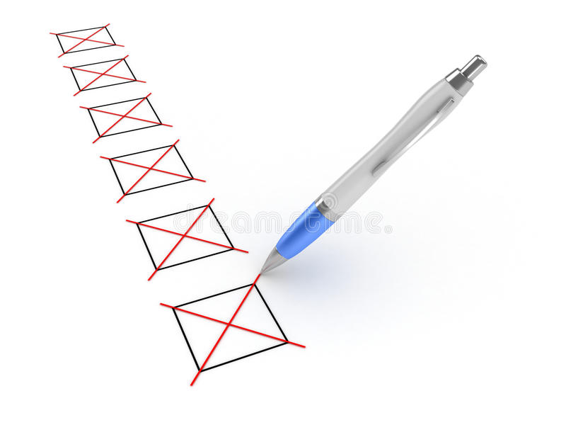 Pen and Checkboxes royalty free stock photo