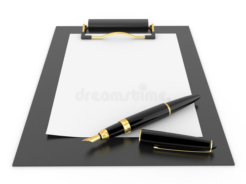 Pen on clipboard. Empty sheet of paper stock images