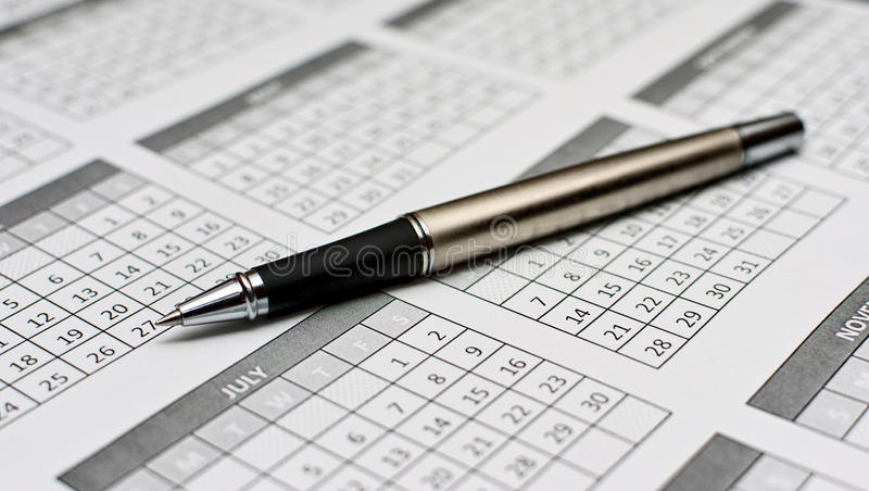 Download Pen Close-up On Calender 2011 Stock Image - Image: 19420139