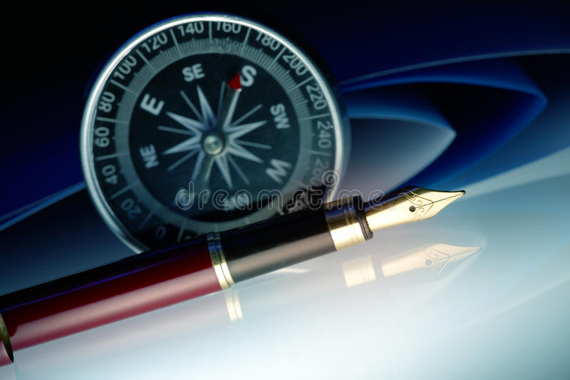 Pen with compass royalty free stock images