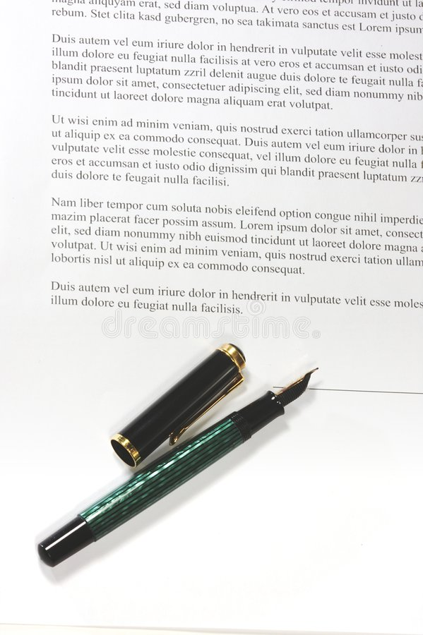 A pen on a contract stock image