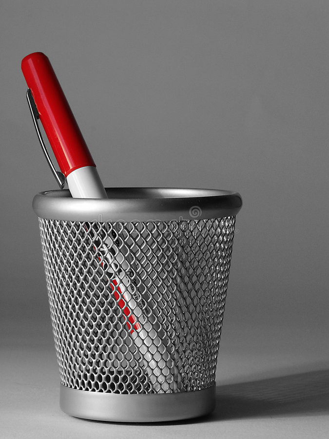 Pen in cup stock images