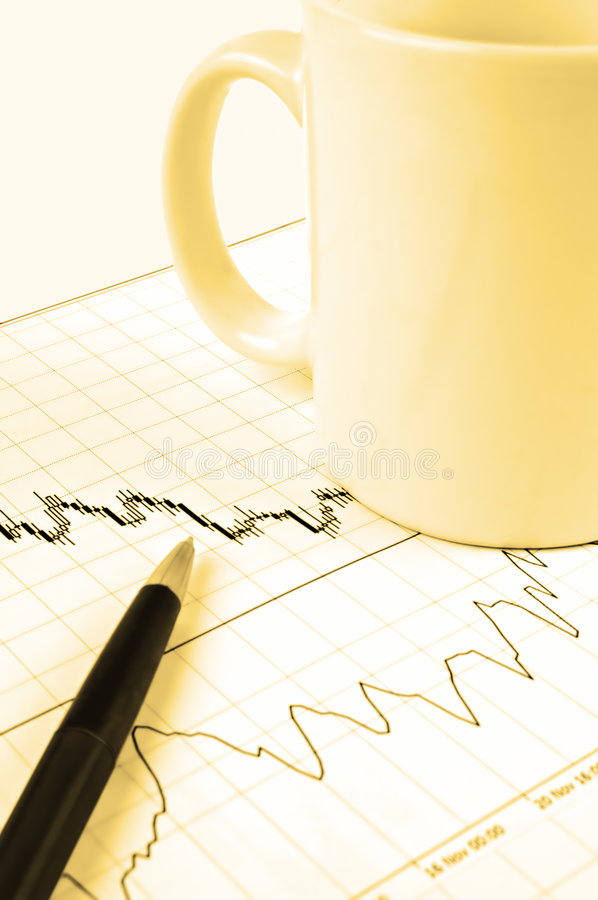 Download Pen and cup on stock chart stock image. Image of forex - 3870195