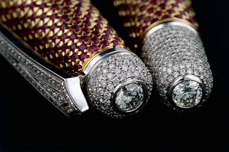 Pen with diamonds and rubies stock images