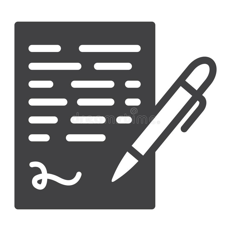 Pen die stevig pictogram, bedrijfscontractteken ondertekenen royalty-vrije illustratie