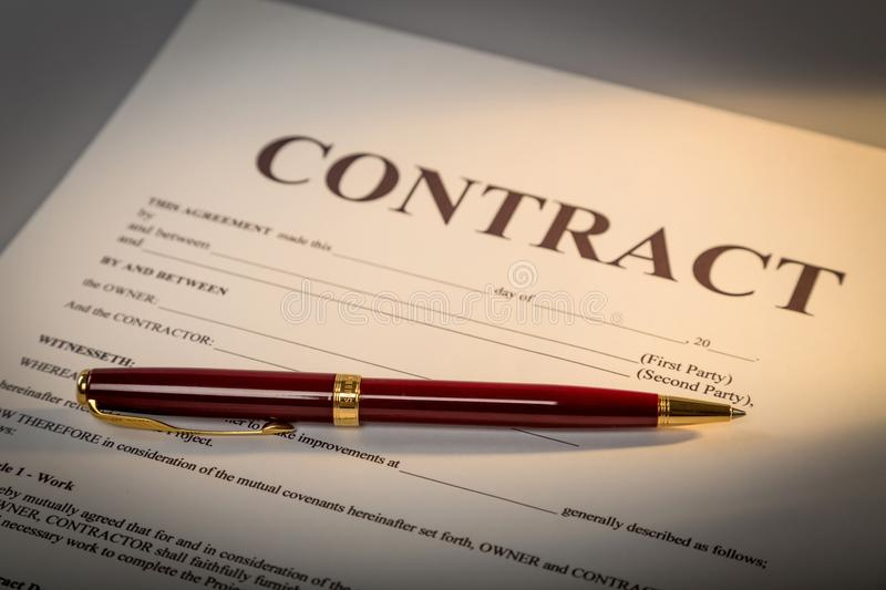 Contract document and pen on background royalty free stock photos