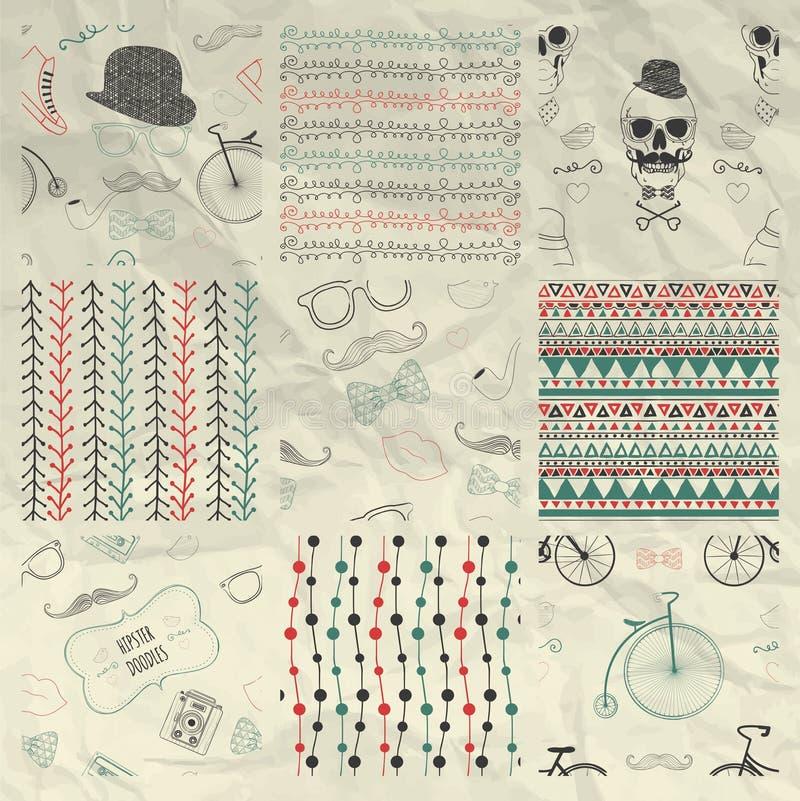 Pen Drawing Seamless Patterns su carta sgualcita royalty illustrazione gratis