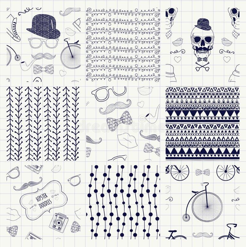 Pen Drawing Seamless Textures ilustração do vetor