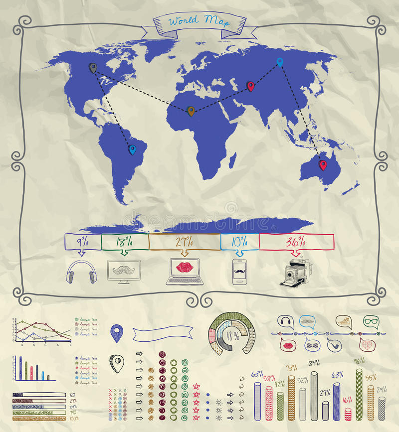 Free Pen Drawing Warld Map. Infographics On Crumpled Stock Photography - 55811272