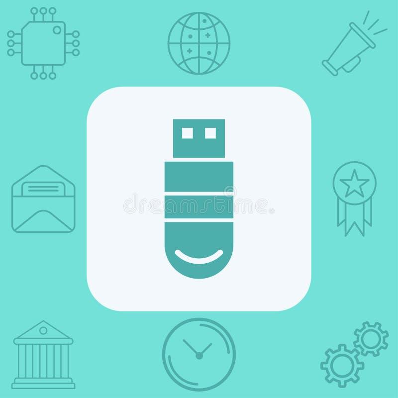 Pen drive vector icon sign symbol stock illustration