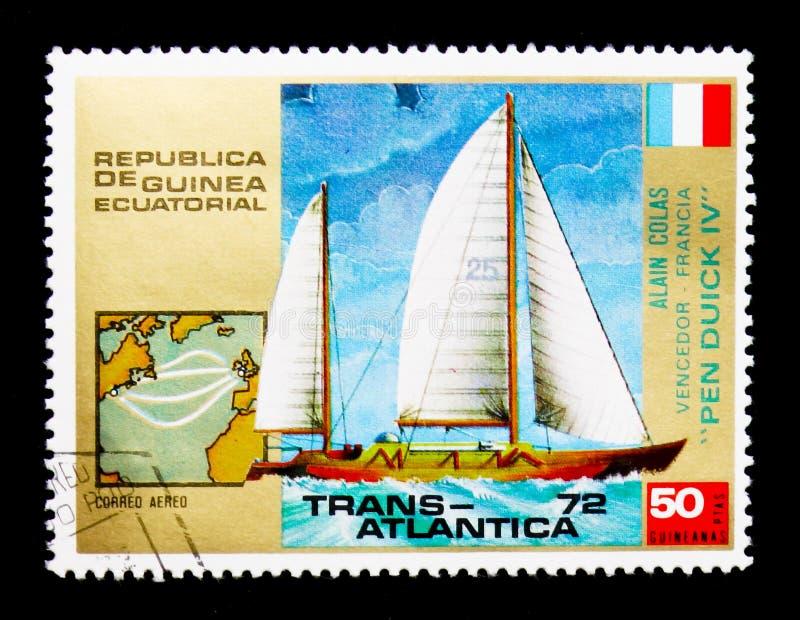 Pen Duick dropp, för seglingregatta för trans. Atlantica serie, circa 1973 arkivbilder