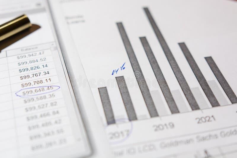 Pen en calculator op de lijst stock fotografie