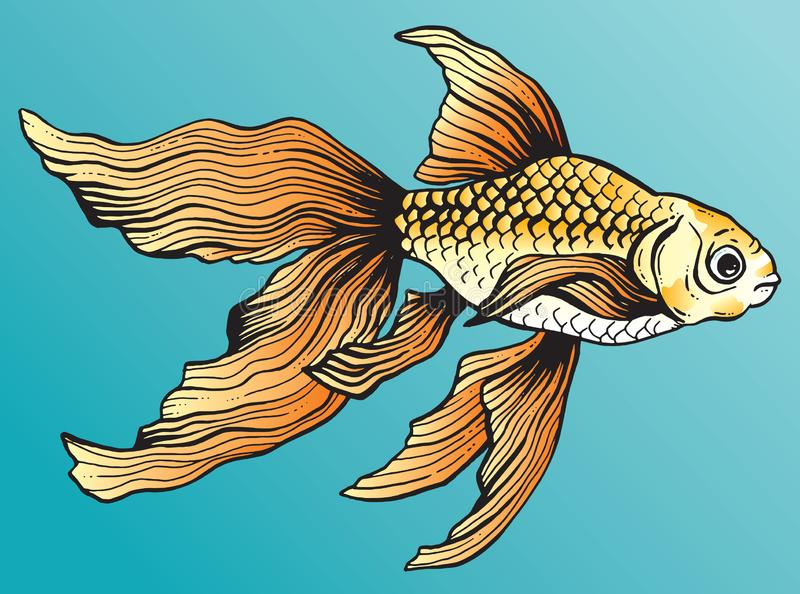 Pen en inkttekening van een mooie oranje goudvis royalty-vrije illustratie