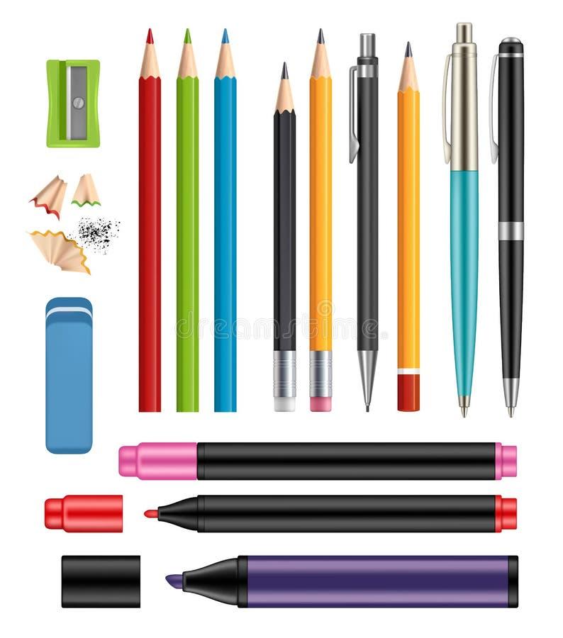 Pen en potloden De school van de bureaukantoorbehoeften kleurde punten van de vector 3d realistische inzameling van de onderwijsh stock illustratie