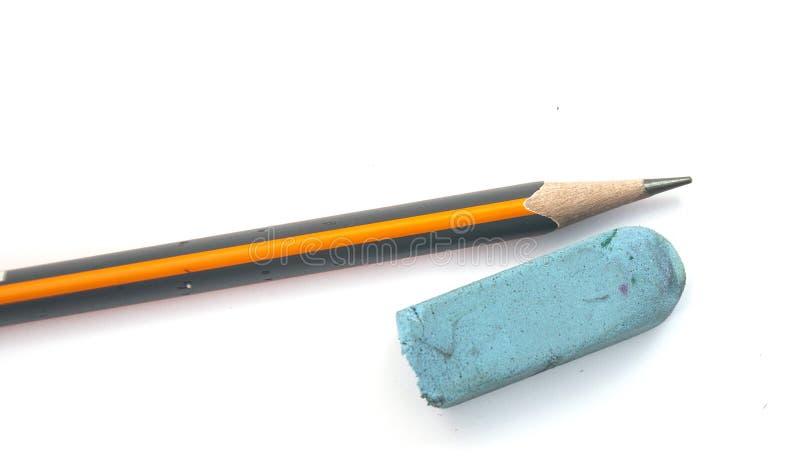 Pen and eraser sharpener. On white stock image