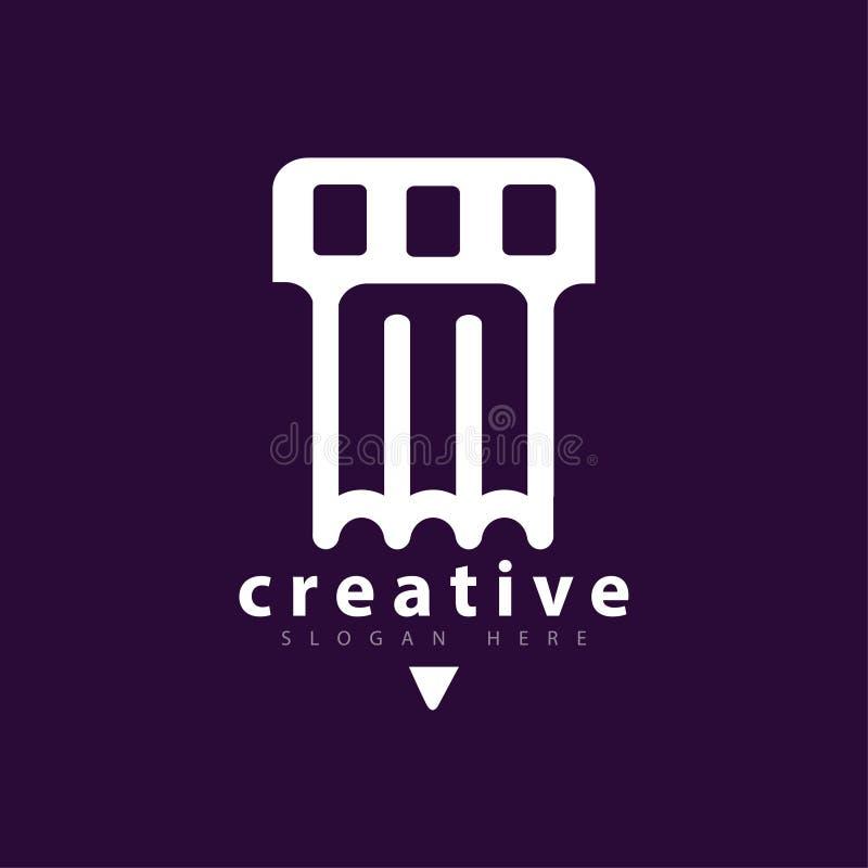Pen Film Logo icon Vector template. Vector element of logo design royalty free illustration