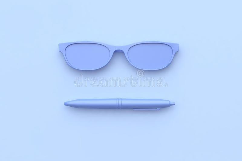 Pen glasses purple-violet all object abstract scene 3d render technology concept. Pen glasses purple-violet all object abstract scene 3d rendering technology royalty free illustration