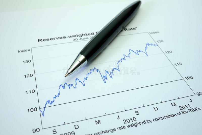 Pen and graph on financial graph stock image