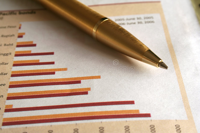 Pen and Graphs royalty free stock photo