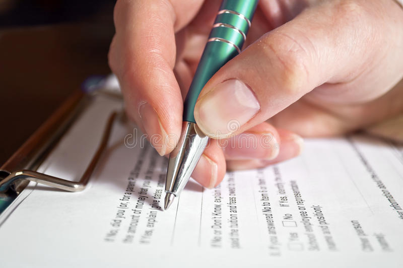 Download Pen in hand stock image. Image of estate, hand, application - 28814633