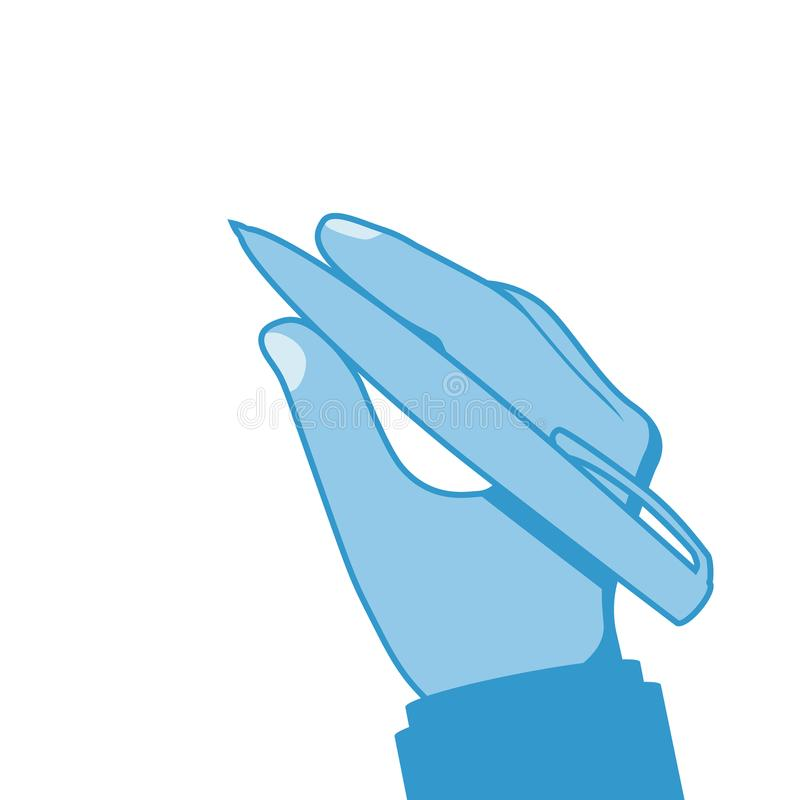 Pen in hand of blue color. Man holding pencil. Vector illustration, flat design. Writing template. Template for writing text drawing. Signature of the document vector illustration