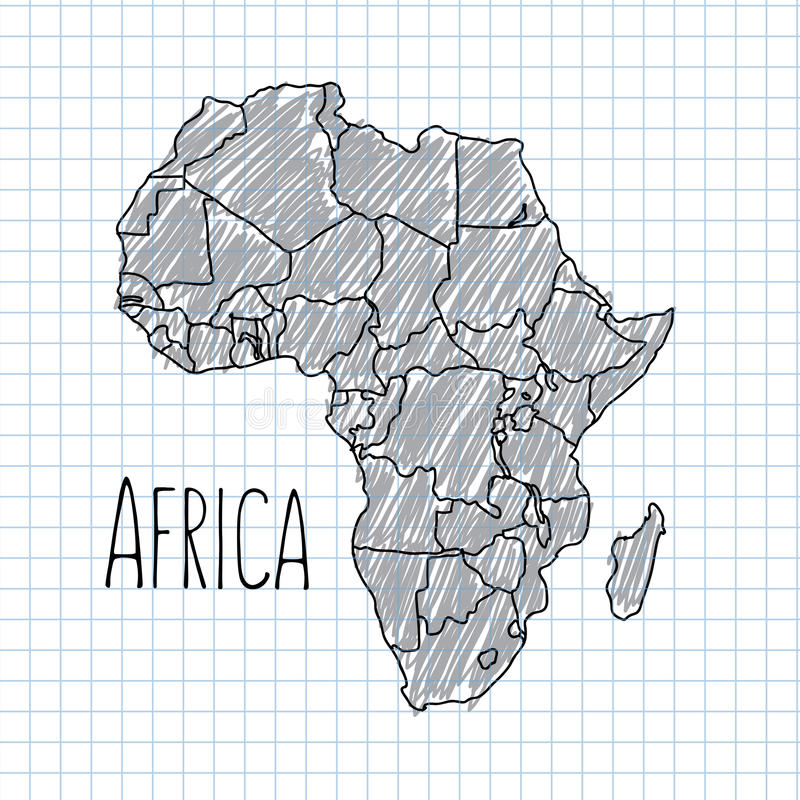 Pen hand drawn African map vector on paper royalty free illustration