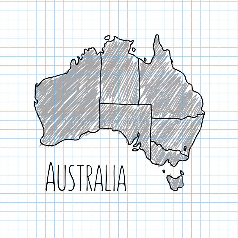Pen hand drawn Australia map vector on paper royalty free illustration