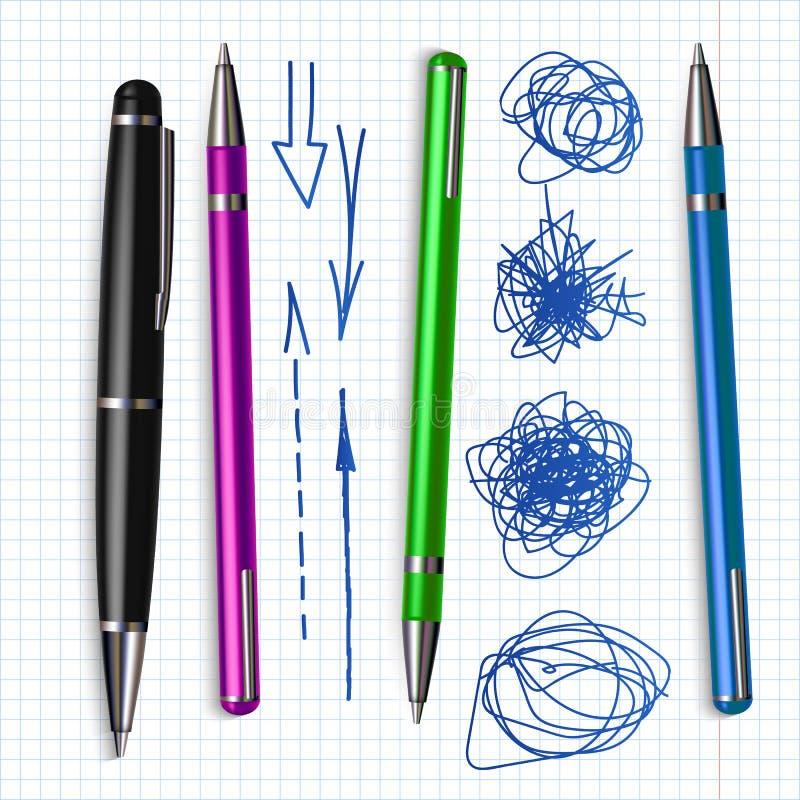Pen And Hand Drawn Doodle a sfera ha fissato il vettore illustrazione vettoriale