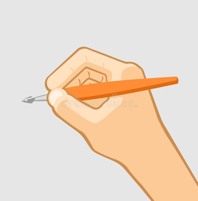 Pen in hand. Grey background royalty free illustration