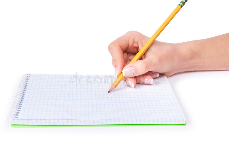 Pen in hand royalty free stock images