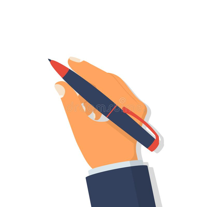 Pen in hand. Man holding pencil stock illustration