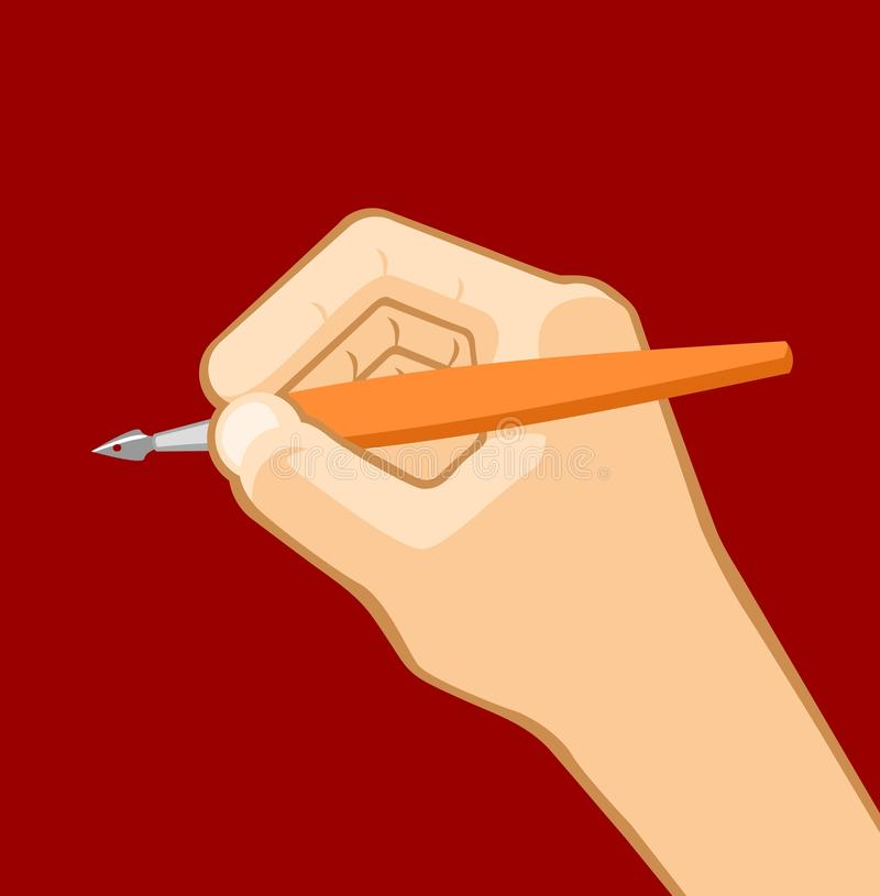 Pen in hand. Red background vector illustration