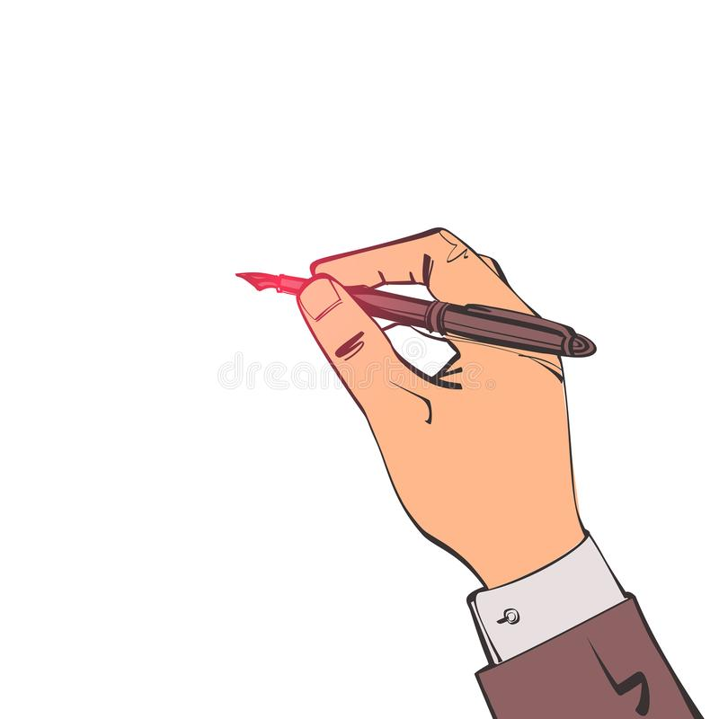 Pen in hand sketch style. Man holding pencil. Vector illustration, cartoon design. Writing template. Template for writing text drawing. Signature of document stock illustration
