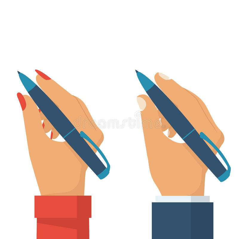 Pen in hand women and man. People holding pencil for writing, drawing. Writer, journalist, student. Set flat design style. Vector illustration. Isolated stock illustration