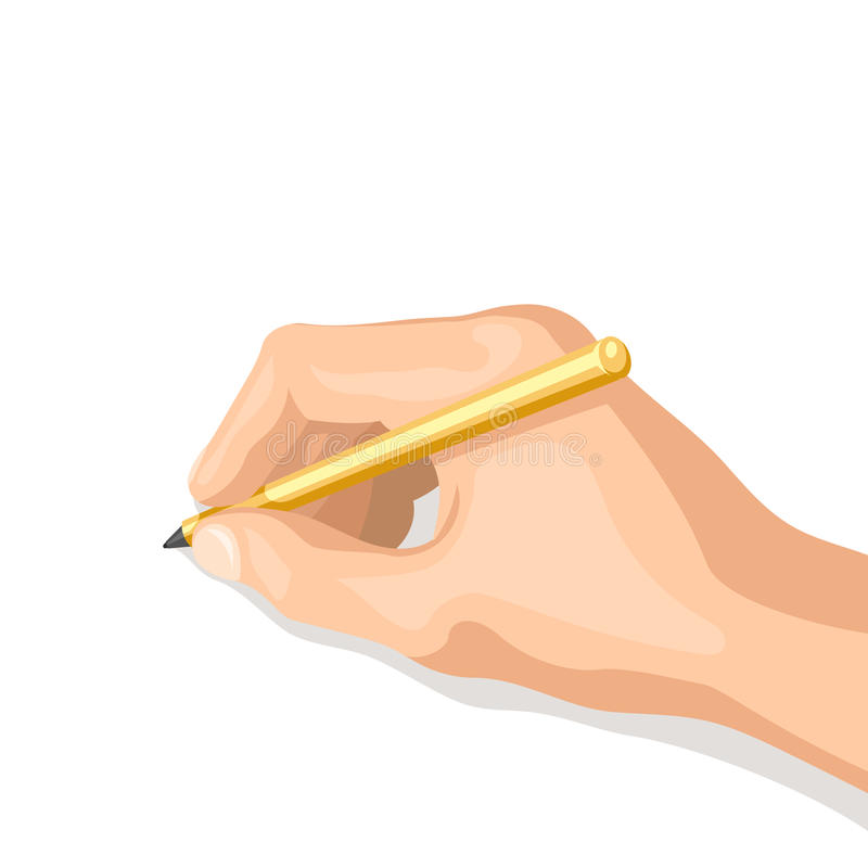 Pen in her hand. The hand writes or draws. Isolated vector illustration on white background for your web design or print stock illustration