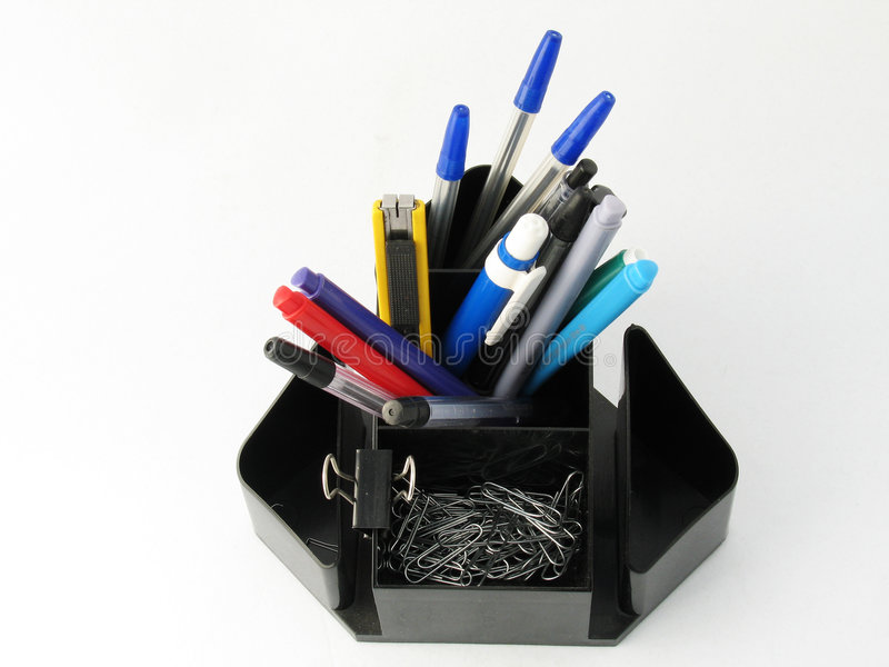 Pen holder. Desk pen and pencil organiser royalty free stock photo