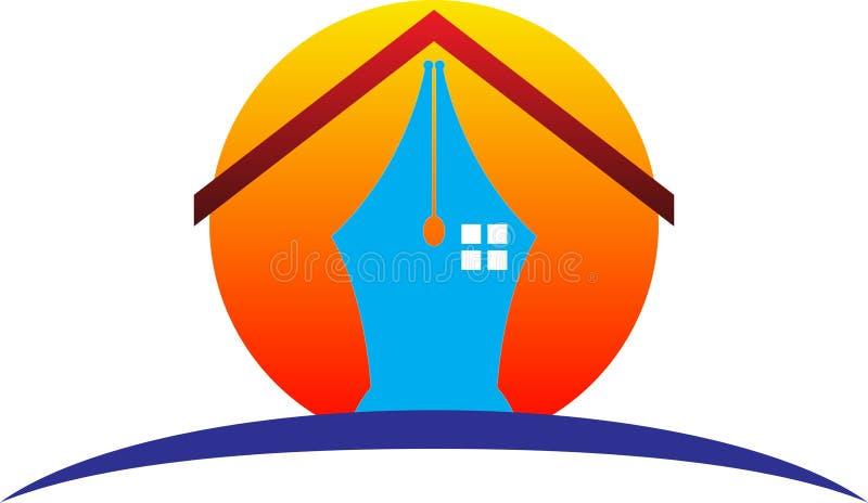 Pen home logo. A vector drawing represents pen home logo design royalty free illustration