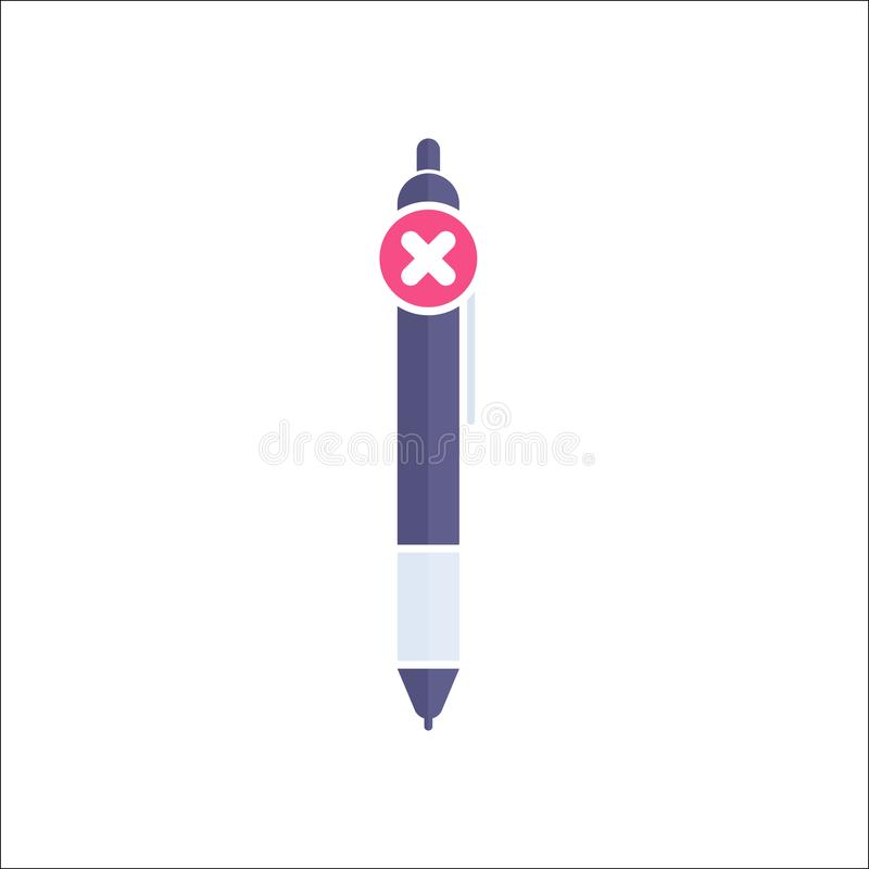Pen icon, Ball pen, ballpoint, stationery, writing instrument icon with cancel sign. Pen icon and close, delete, remove symbol. Vector royalty free illustration