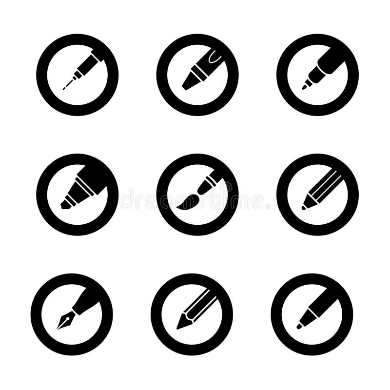 Pen Icon Buttons stock illustratie