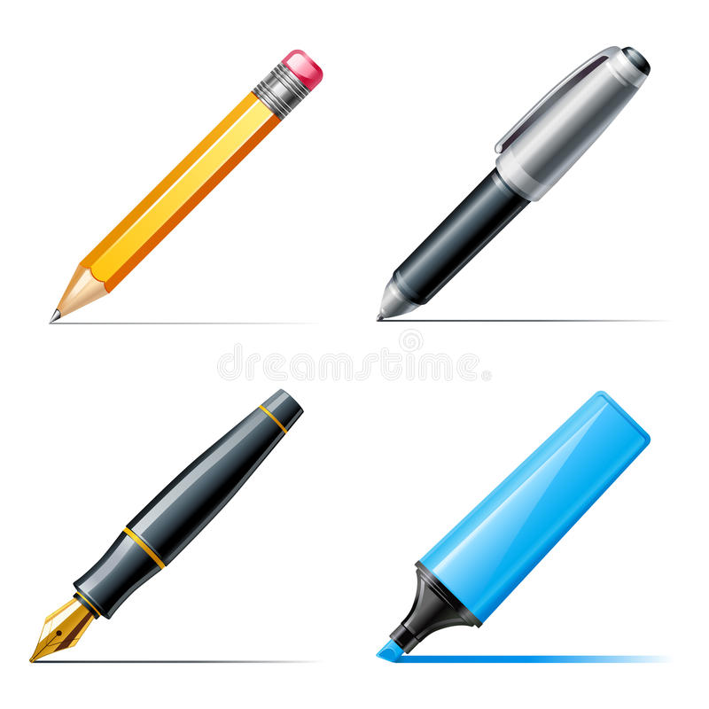 Pen icons. Pencil, pen and marker. Pen icons. Pencil and marker stock illustration