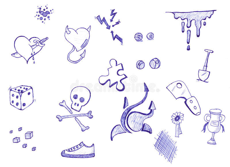 Pen and ink doodles royalty free illustration